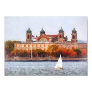 "Sailboat by Ellis Island 5"" X 7"" Invitation Card"
