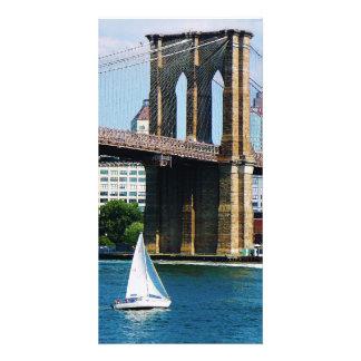 Sailboat by the Brooklyn Bridge Card