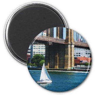 Sailboat by the Brooklyn Bridge Refrigerator Magnet