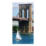 Sailboat by the Brooklyn Bridge Photo Card