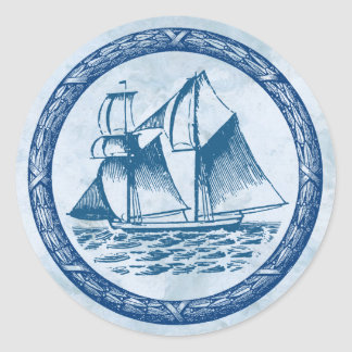 Sailboat Classic Round Sticker