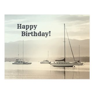 Sailboat Coastal Birthday Postcard