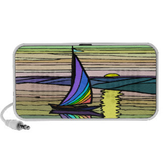 Sailboat, colorful sky and sea Doodle speaker