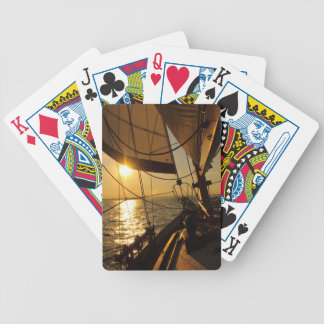 Sailboat Deck, Heading Into Setting Sun Bicycle Playing Cards