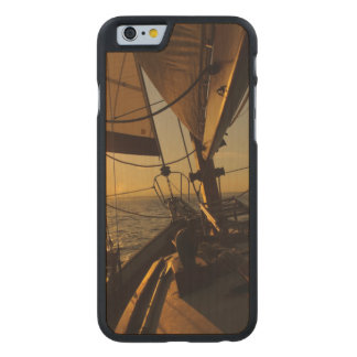 Sailboat Deck, Heading Into Setting Sun Carved Maple iPhone 6 Slim Case