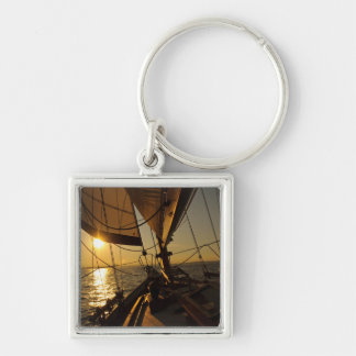Sailboat Deck, Heading Into Setting Sun Keychain