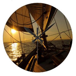 Sailboat Deck, Heading Into Setting Sun Large Clock