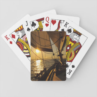 Sailboat Deck, Heading Into Setting Sun Playing Cards