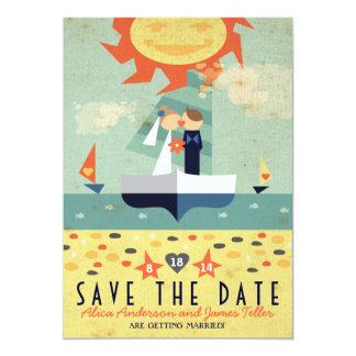 Sailboat Destination Wed Kissing Couple Save Date Card