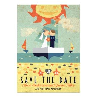 Sailboat Destination Wed Kissing Couple Save Date Custom Invitations