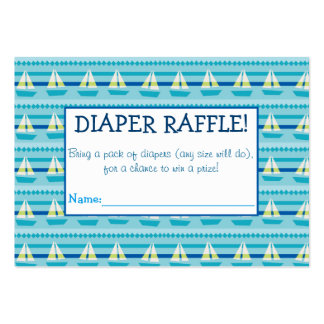 Sailboat Diaper Raffle Tickets Large Business Cards (Pack Of 100)