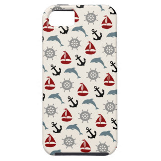 Sailboat Dolphin Anchor Pattern Navy and Red iPhone SE/5/5s Case