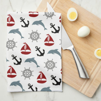 Sailboat Dolphin Anchor Pattern Navy and Red Towel