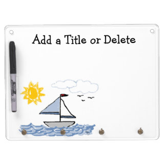 Sailboat Dry Erase Board With Keychain Holder