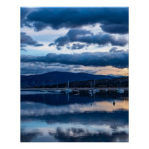 Sailboat Dusk // Moody Calm Blue Waters