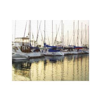 Sailboat & Golden Ocean Reflection Canvas Print