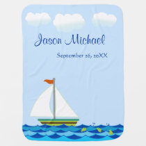 Sailboat Green And Brown Personalized Swaddle Blanket