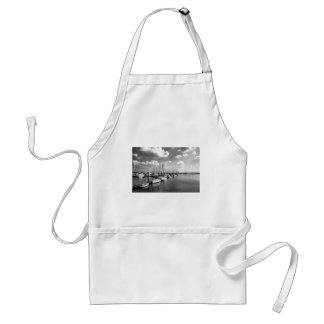 Sailboat Harbor in Black and White Adult Apron