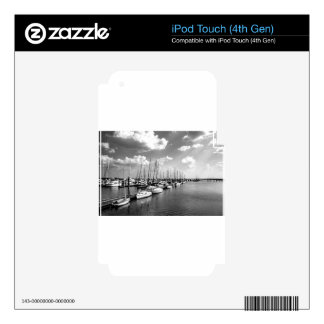 Sailboat Harbor in Black and White iPod Touch 4G Skins