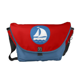 Sailboat in a Blue Circle Courier Bag