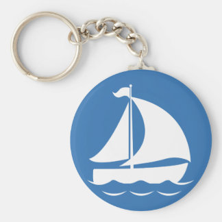 Sailboat in a Blue Circle Keychain