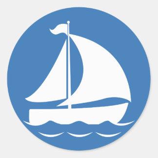 Sailboat in a Blue Circle Round Sticker