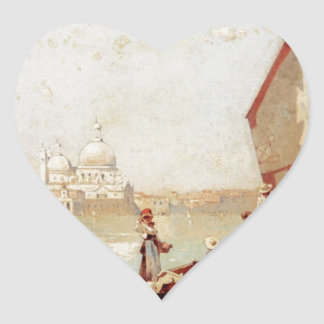 Sailboat In A Venetian Lagoon by Franz Richard Heart Sticker