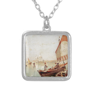 Sailboat In A Venetian Lagoon by Franz Richard Silver Plated Necklace