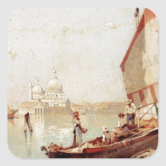 Sailboat In A Venetian Lagoon by Franz Richard Square Sticker