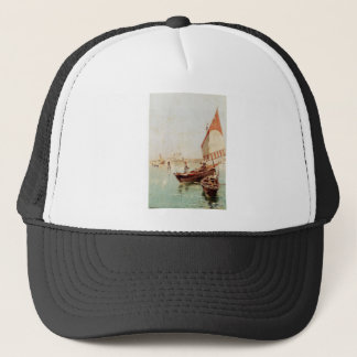 Sailboat In A Venetian Lagoon by Franz Richard Trucker Hat