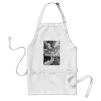 Sailboat in Dock Black and White Adult Apron