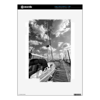 Sailboat in Dock Black and White Skin For The iPad 2