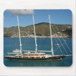 Sailboat in harbor mouse pad