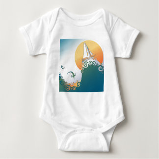Sailboat in Ocean with Fish Jumping Baby Bodysuit