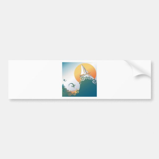 Sailboat in Ocean with Fish Jumping Bumper Stickers