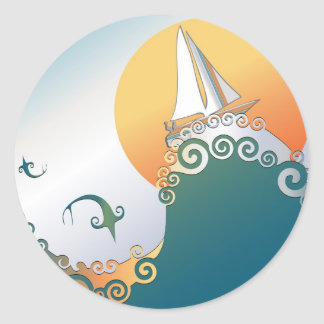 Sailboat in Ocean with Fish Jumping Classic Round Sticker