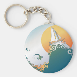 Sailboat in Ocean with Fish Jumping Keychain