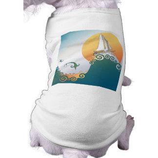 Sailboat in Ocean with Fish Jumping Pet T Shirt