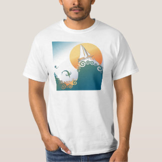 Sailboat in Ocean with Fish Jumping T-Shirt
