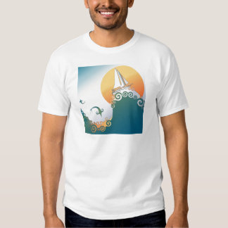 Sailboat in Ocean with Fish Jumping Tee Shirt