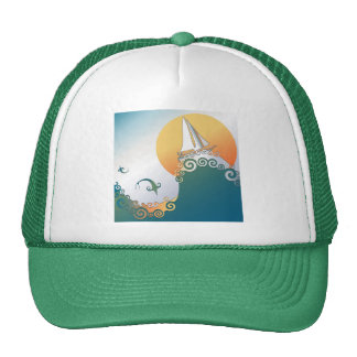 Sailboat in Ocean with Fish Jumping Trucker Hat