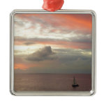 Sailboat in Sunset Beautiful Clouds Seascape Metal Ornament