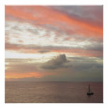 Sailboat in Sunset Beautiful Pink Seascape Poster