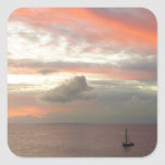 Sailboat in Sunset Beautiful Pink Seascape Square Sticker