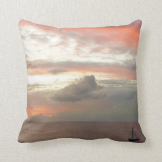 Sailboat in Sunset Beautiful Pink Seascape Throw Pillow