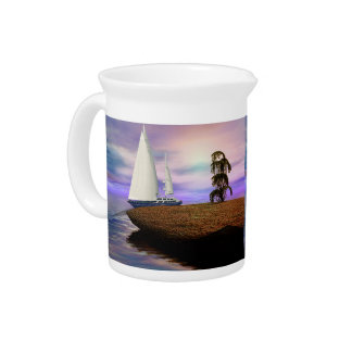 Sailboat in the Ocean Drink Pitchers