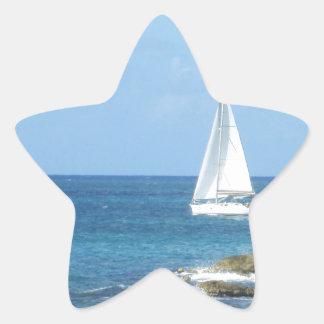Sailboat in the Ocean Star Sticker