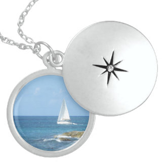 Sailboat in the Ocean Sterling Silver Necklace