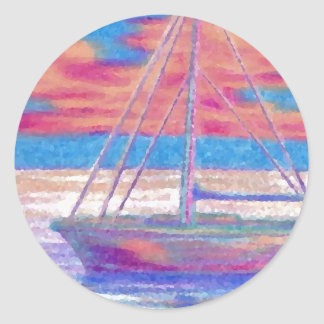 Sailboat in the Sunset CricketDiane Designer Stuff Classic Round Sticker
