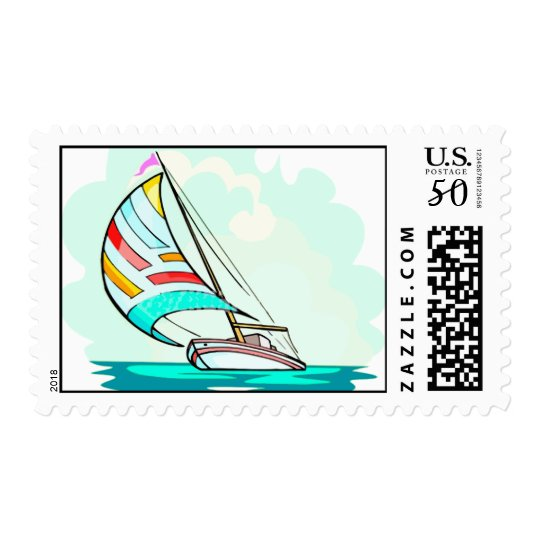 Sailboat in the Wind Postage